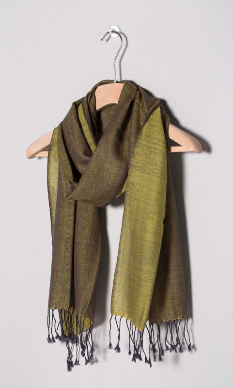 Kaschmir-Schal, zweifarbig - olivgrün/dunkelgrün
