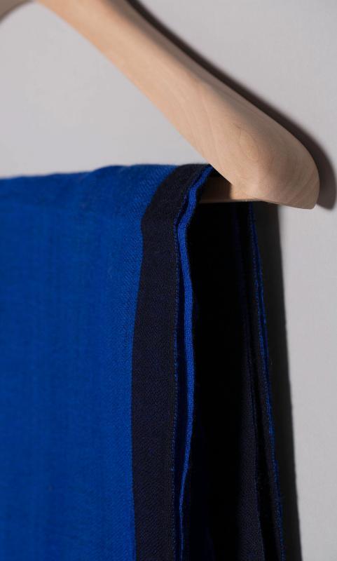 Woll-Schal, zweifarbig - blau