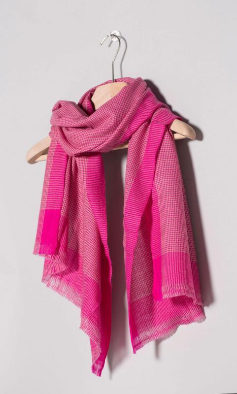 Kaschmir-Schal, karo - blau oder pink