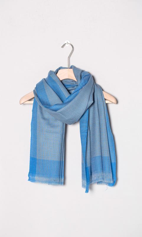 Kaschmir-Schal, karo - blau