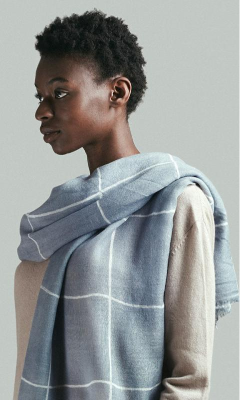 "Wool Scarf ""check"" - nude/grey-blue"